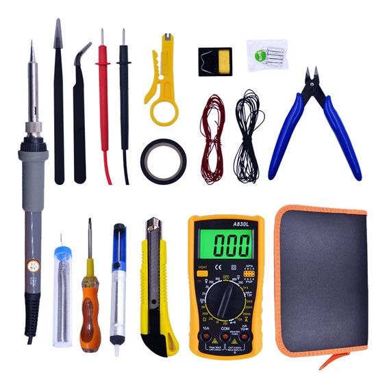 Kit Soldadura Electrico Herramienta Multimetro Con Estuche