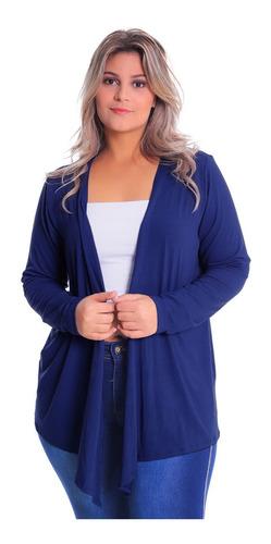 Imagem 1 de 5 de Cardigan Com Bico Pluz Size Casaco De Malha Blusa Feminino