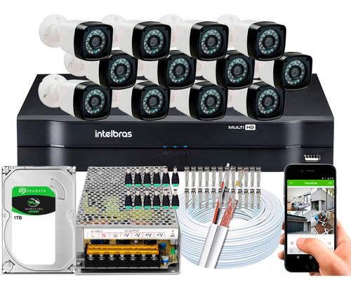 Kit Intelbras Full Hd 12 Cameras Segurança 2mp Dvr 1116 16ch