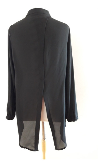 Camisa Inversa Creppe Negro Talle 40 Sin Uso Frack