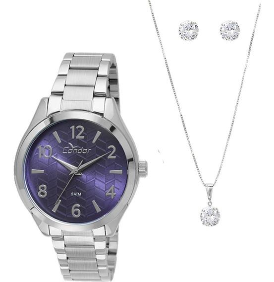 Relógio Condor Feminino + Colar E Brinco Com Garantia E Nf