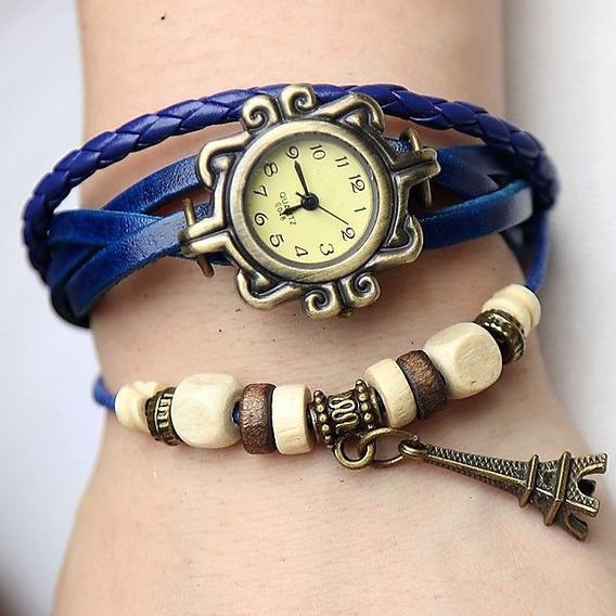 Relógio Vintage Feminino-couro-pingente: Torre Eiffel