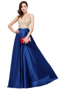 Vestido Fiesta Graduación Negro Azul Talla 4 6 8 10 Ep 409