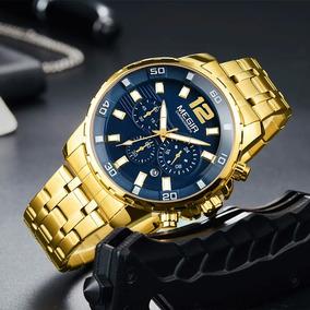 Relógio De Pulso Masculino Original Megir Dourado Fundo Azul