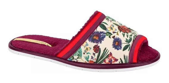 Chinelo Pantufa Moleca Cetim Floral Rosa 5427.102 9867