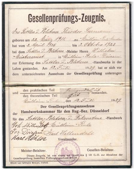 1929 Certificado Oficial Antiguo Cámara D Artesanos Alemani