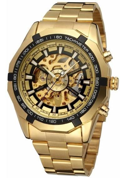 Relógio Dourado Skeleton Mecânico A Corda Frete Grátis
