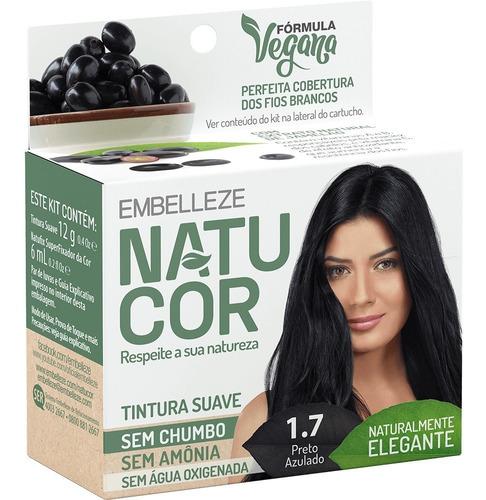 Imagem 1 de 2 de Tinta De Cabelo Natucor Naturalmente Elegante Preto Azulado 1.7 Kit Economico