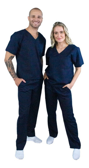 Pijama Cirúgico Unissex-oxford-clássico (azul Marinho )