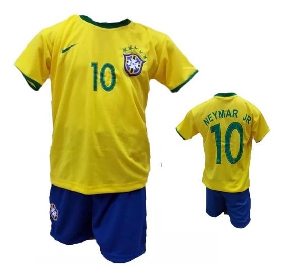 Conjunto Uniforme Camisa Infantil Brasil Seleção Brasileira