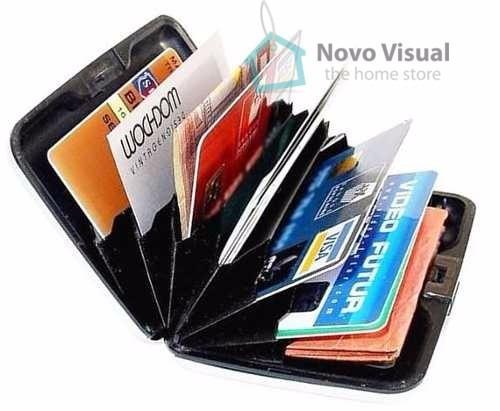 7cb46c7756 Carteira Porta Cartão Visita Crédito Alumínio Aluma Preta - R$ 49,90 em  Mercado Livre