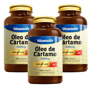 3x Oleo Cartamo 1000mg Emagrecedor Definição Muscular