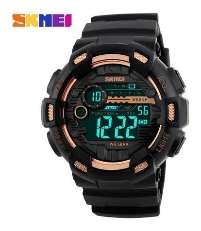 Relógio Masc Skmei 1243 Esporte 50m Alarmes Preto/dourado