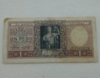 Billete Un Peso Serie B Moneda Nacional