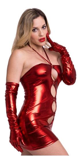 Vestido Ajustado Escote Abertura Frontal Vinilo Mujer