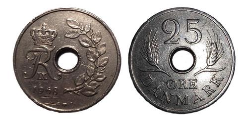 Dinamarca - Moneda 25 Ore - Año 1968
