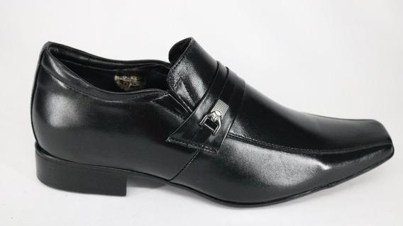 Sapato Jota Pe Couro Conforto Aumenta Altura Preto