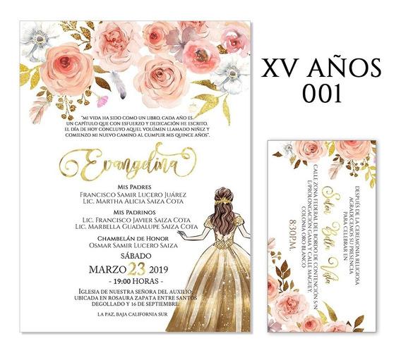 25 Invitaciones - Xv Años Florales V1- Varios Colores