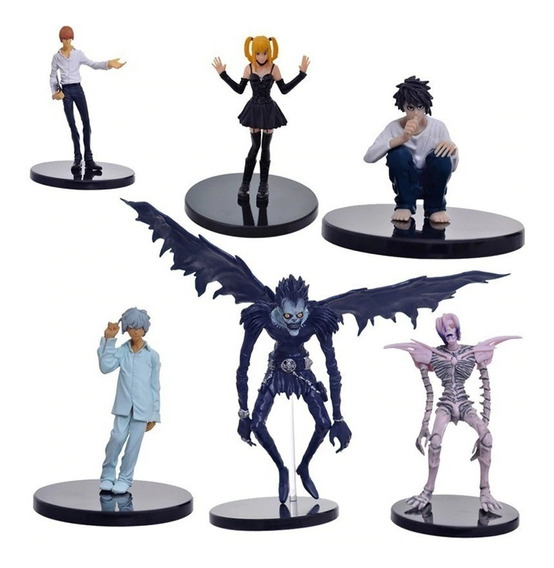 Kit 6 Action Figure Death Note Light Ryuk L Rem Near Misa