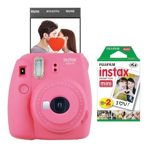 Câmera Fujifilm Instax Mini9 Rosa + Filme Com 20 Poses