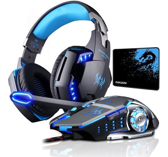 Kit Game Microfone Light Para Ps4 Pc Portátil+mouse Pad+fone