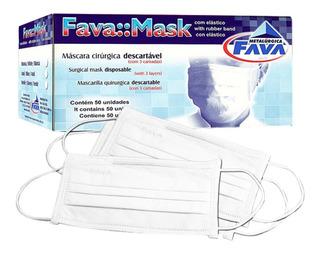 Kit 100 Máscaras Descartáveis Cirúrgicas Tripla Tnt - Fava