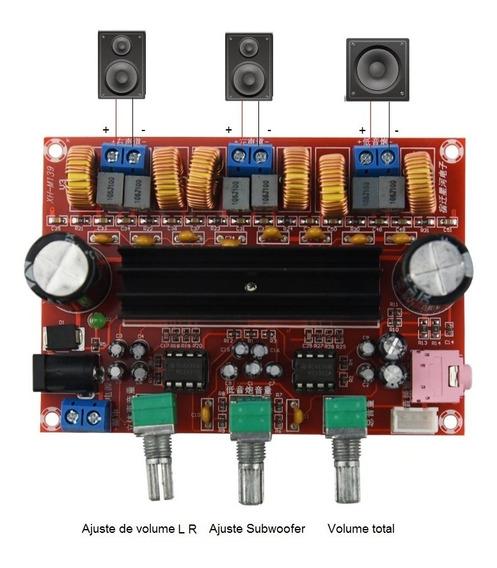 Placa Amplificador 2.1 Canal 50w+50w+100w Potência 200w Rms