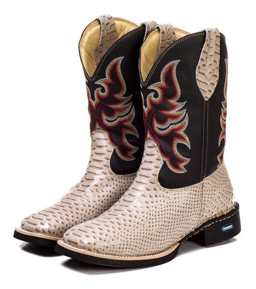 Bota Country Texana Masculina Cobra Anaconda Couro Nobre Legitimo Frete Grátis