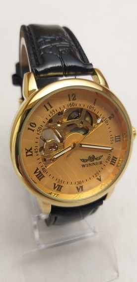 Relógio Masculino+brinde Automático Barato Luxo Couro C.105