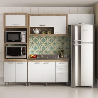 Cozinha Completa Multimóveis 8 Portas 3 Gavetas 4 Peças