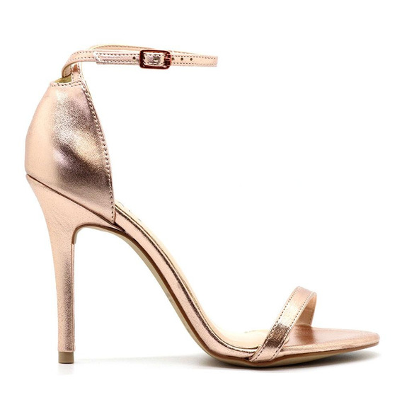 Sandália Royalz Metalizada Salto Alto Fino Tira Dourado Rosé