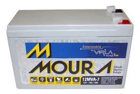 Bateria 12v 7ah Moura Estacionária Vrla Nobreak Alarme Cerca