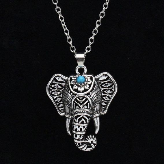 Collar Elefante Plateado Lapislazuli Exclusivo N-298 F