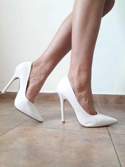 Stilettos Fino Blancos Con Brillos