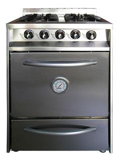 Cocina Industrial 60cm 4 Hornallas Horno Parrilla Acero Inox