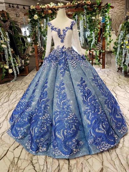 Vestido Xv Años Azul Alta Costura Elegante Quinceaños 15años