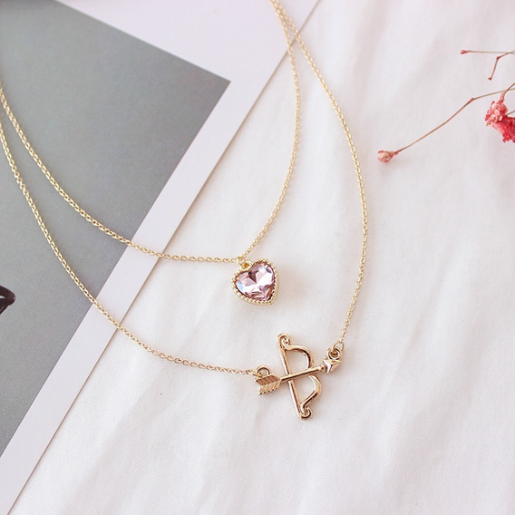 Collar Signo Sagitario Corazon Rosa Flecha Cute Kawaii