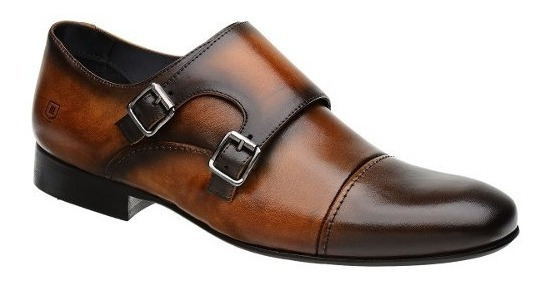 Sapato Monk Masculino Malbork Em Couro Caramelo