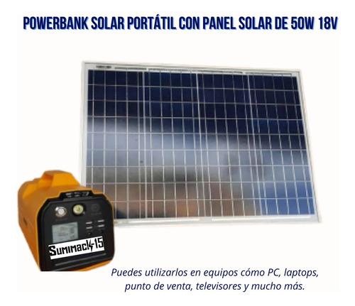 Estación De Carga Portátil Solar Incluye Panel De 50w 18v