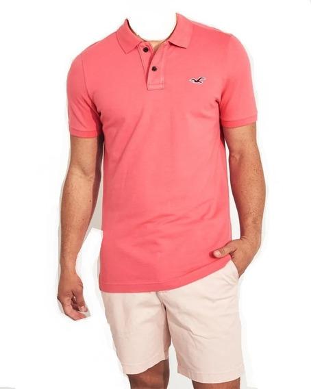 Hollister Caballero Polo Muscle Fit Rosa Oscuro Importada