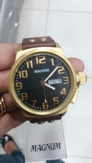 Relógio Magnum Banhado A Ouro