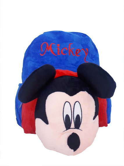 Mochila Infantil De Pelúcia Azul Rostro Mickey 3d Disney