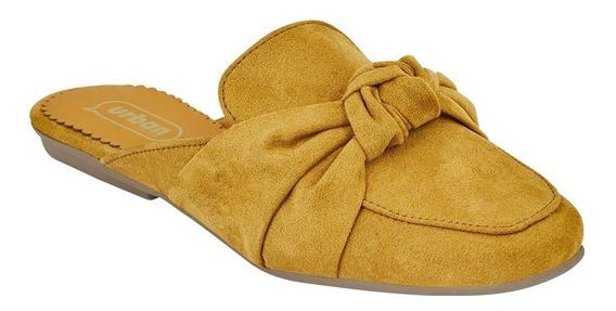 Zapato Dama Mujer Flat Slip On Mostaza Destalonado Gamuza