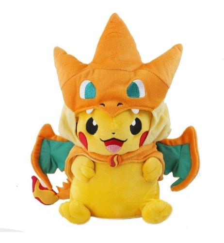 Imagen 1 de 1 de Pikachu Charizard Peluche 22cm Enojado Pikazard Pokemon A126