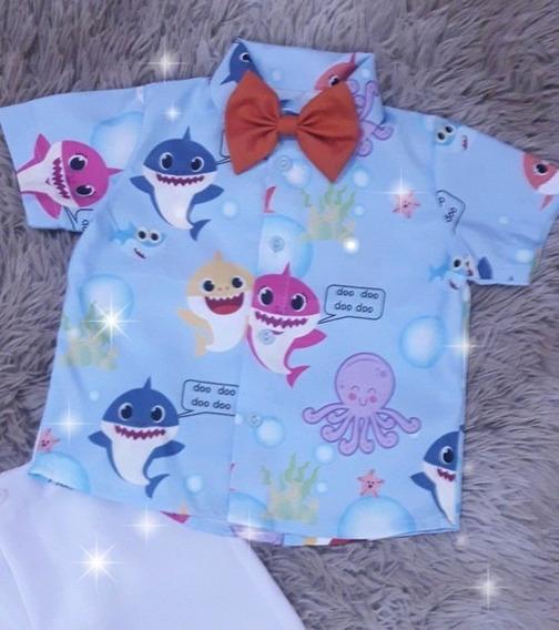 Conjunto Short + Blusa + Gravata + Suspensórios Baby Shark
