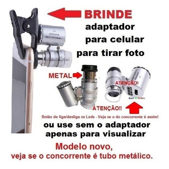 Mini-microscópio Para Celular 60x Lupa Com Manual Em Ingles