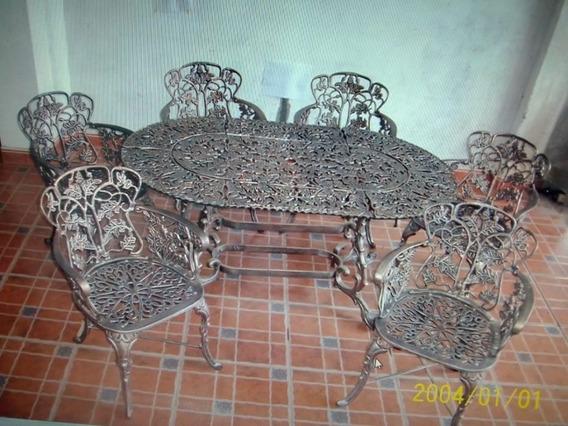 Comedor De Aluminio 6 Sillas Y 1 Mesa De Jardín - Hojas