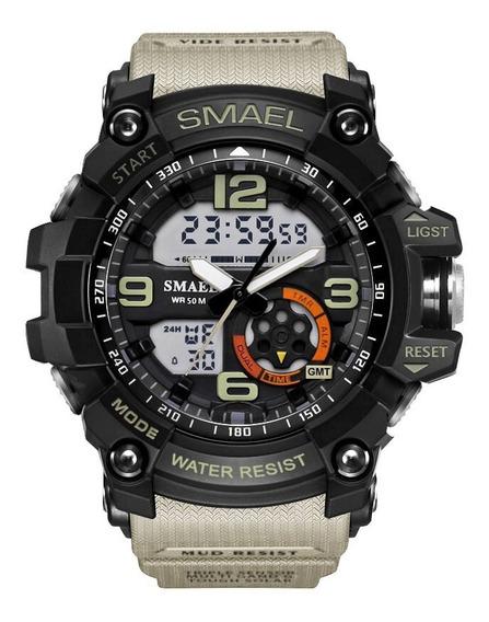 Relógio Militar Shock Smael Analógico Digital Prova D`água