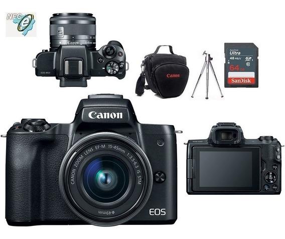 Canon Eos M50 + Ef-m 15-45mm Is Stm + Bolsa+tripé+64gb Nota Fiscal