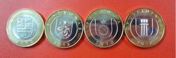 Lituania Set De 4 Monedas Bimetalicas 2012 Unc